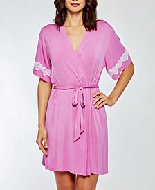 Women's Elegant Cotton Blend- Ultra Soft Lace Trimmed Robe