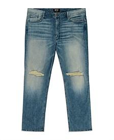 Men's Big Tall Slit Knee Slim Straight Leg Jeans