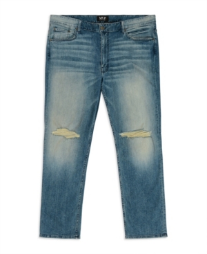 Mvp Collections By Mo Vaughn Productions Men's Big Tall Slit Knee Slim Straight Leg Jeans