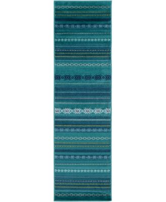 "Paramount PAR-1119 Teal 2'2"" x 7'7"" Runner Area Rug"