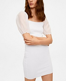 Puffed Sleeves Knit Dress