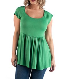 Women's Plus Size Cap Sleeve Babydoll Tunic Top