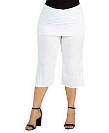 Women's Plus Size Fold Over Waist Cropped Pants