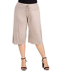 Women's Plus Size Drawstring Gaucho Pants