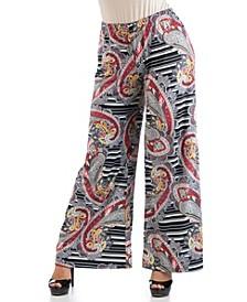 Women's Plus Size Paisley Print Palazzo Pants