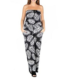 Women's Plus Size Palm Print Jumpsuit