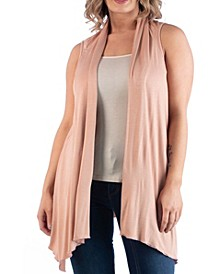 Women's Plus Size Asymmetric Open Front Cardigan