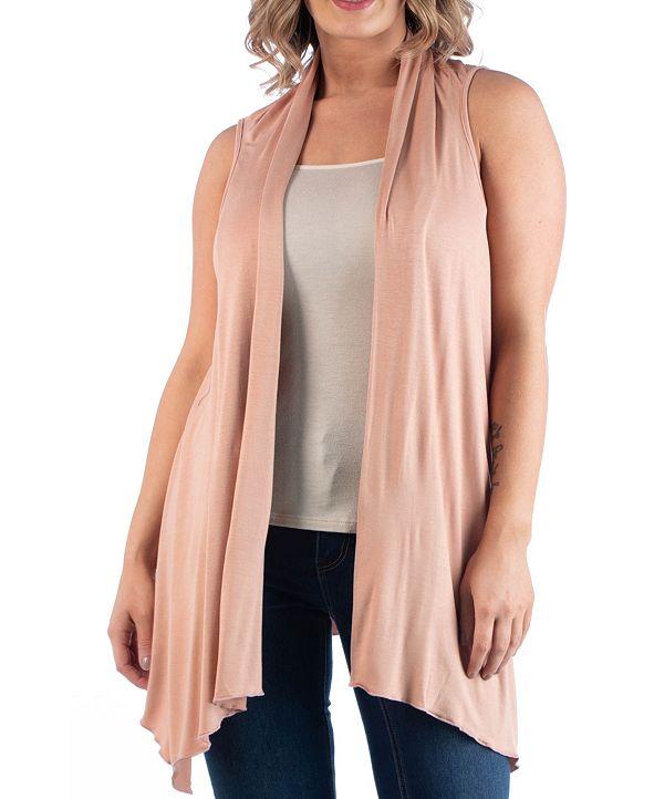 24seven Comfort Apparel Women's Plus Size Asymmetric Open Front Cardigan