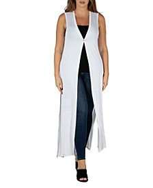 Women's Plus Size Cardigan Duster Vest