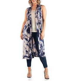 Women's Plus Size Tie Dye Sleeveless Cardigan