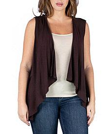 24seven Comfort Apparel Women's Plus Size Open Front Cardigan Vest
