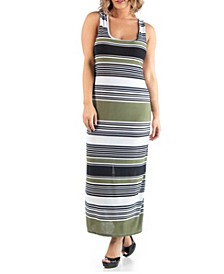 Women's Plus Size Racerback Stripe Maxi Dress