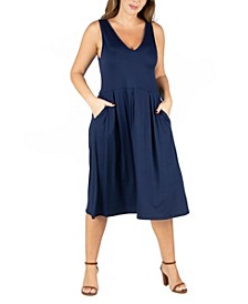 Women's Plus Size Sleeveless Midi Fit and Flare Pocket Dress