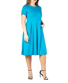 Women's Plus Size Short Sleeve Midi Skater Dress