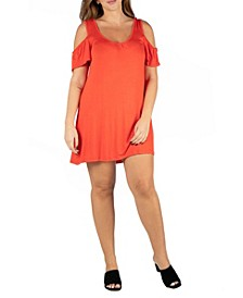 Women's Plus Size Loose Fitting Cold Shoulder Mini Dress
