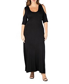 Women's Plus Size Cold Shoulder Maxi Dress