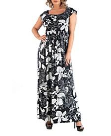 Women's Plus Size Empire Waist Botanical Maxi Dress