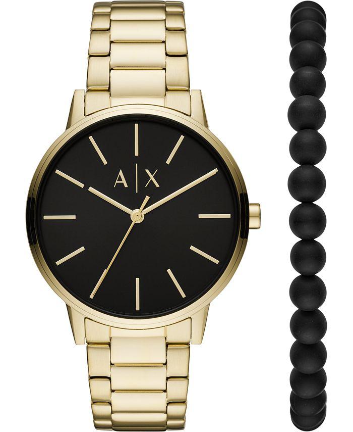 A|X Armani Exchange - Men's Cayde Gold-Tone Stainless Steel Bracelet Watch 42mm