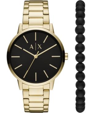 Men's Cayde Gold-Tone Stainless Steel Bracelet Watch 42mm Gift Set