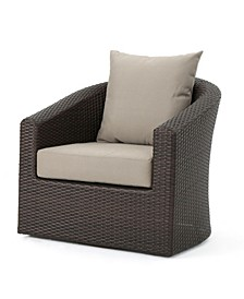 Darius Outdoor Framed Swivel Club Chair with Cushions