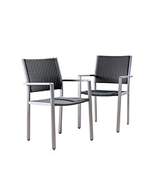 Cape Coral Outdoor Dining Chairs with Frame, Set of 2