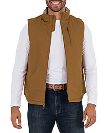 Men's Sherpa Lined Canvas Vest with Zip Utility Pocket