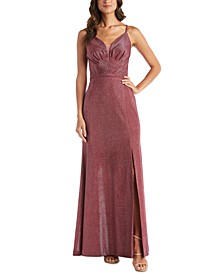 Mesh-Inset Shimmer Gown