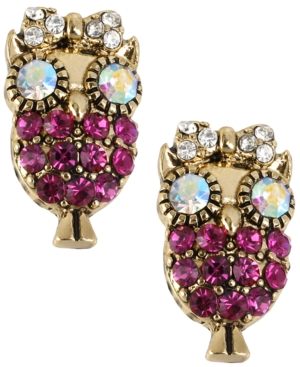 Betsey Johnson Antique Gold-Tone Owl Stud Earrings