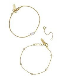 Opal Crystal Dainty Women's Bracelet Set with Extender Add On