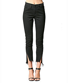 FLYING MONKEY High Rise Twisted Side Seam Front Slit Skinny Jeans