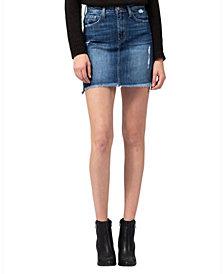 FLYING MONKEY High Rise Raw Step Hem With Side Slit Mini Skirt
