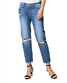 High Rise Distressed Raw Hem Boyfriend Jeans