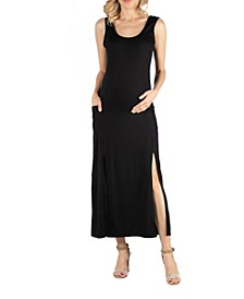 Sleeveless Maternity Slip Maxi Dress with Side Slits and Pockets