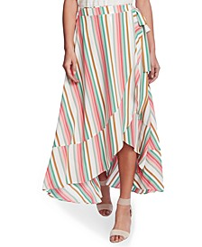 Striped Wrap Midi Skirt