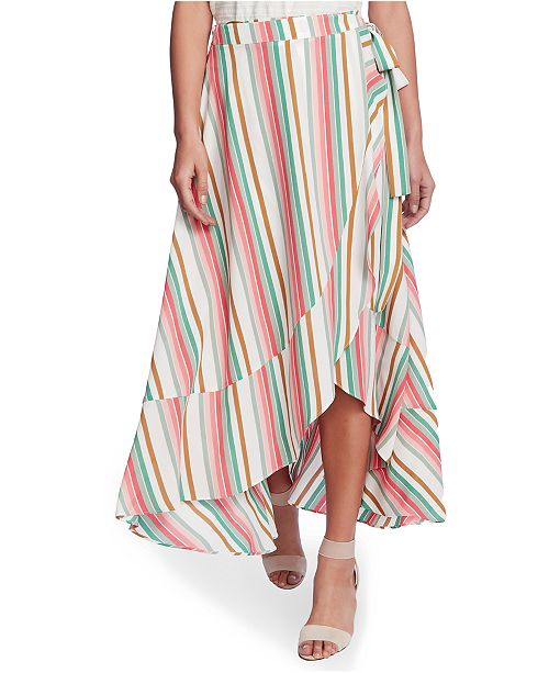 1.STATE Striped Wrap Midi Skirt