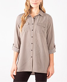 Plus Size Striped Utility Shirt