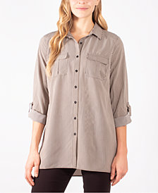 NY Collection Plus Size Striped Utility Shirt