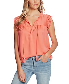 Ruffled-Sleeve Tie-Neck Top