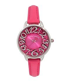 Women's Glitter Dial Pink Polyurethane Strap Bracelet Watch 34mm