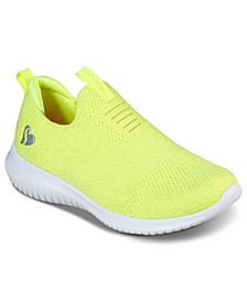 Big Girls' Ultra Flex - Fluorescent Fun Slip-On Sporty Casual Sneakers from Finish Line