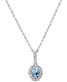 "Aquamarine (1/2 ct. t.w.) & Diamond (1/8 ct. t.w.) 18"" Pendant Necklace in 14k White Gold"