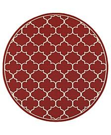 """Apex APE01 Red 7'10"""" Round Rug"""