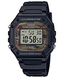 Men's Digital Black Resin Strap Watch 43.2mmx43.2mm