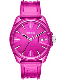 Unisex MS9 Pink Transparent Polyurethane Strap Watch 44mm