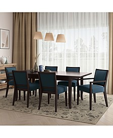 Alecia 7 Piece Butterfly Leaf Espresso Dining Table and Upholstered Armless and Arm Chairs