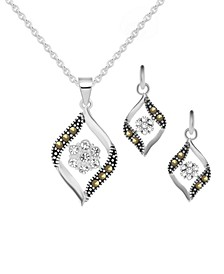2-Pc. Set Swarovski Marcasite & Crystal Pendant Necklace & Matching Drop Earrings in Fine Silver-Plate