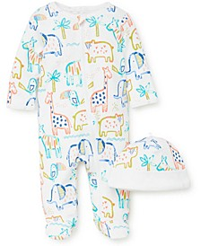 Baby 2-Pc. Cotton Safari Footie Coverall & Hat Set