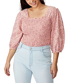 Curve Puff Sleeve Shirred Top