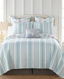 Cape Coral Stripe Reversible Quilt Set and Euro Sham Collection