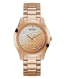 Unisex Rose Gold-Tone Ombre Crystal Bracelet Watch 42mm
